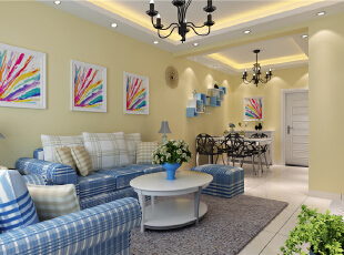 ,81平,6万,地中海,三居,客厅,蓝色,