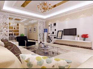 ,150平,8万,现代,三居,客厅,餐厅,玄关,白色,