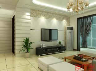 ,90平,5万,现代,三居,客厅,白色,