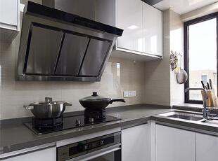 ,77平,6万,简约,两居,厨房,黑白,