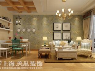 建业贰号城邦4号楼两室两厅田园风格装修方案-客餐厅,90平,6万,田园,两居,餐厅,