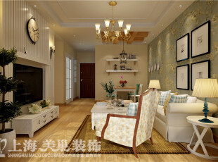 郑州建业贰号城邦装修案例90平方两室两厅客餐厅效果图,90平,6万,田园,两居,客厅,