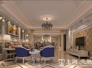 正商铂钻300平米复式法式奢华装修案例效果图-客餐厅  古典法式家具带有浓郁的贵族气息,这类风格的家具,主要采用花样繁多的装饰,作大面积的手工雕刻、金箔贴面、描金涂漆处理,坐卧类家具大量应用面料包覆,华丽的布面与精致的雕刻互相配合。,300平,35万,小资,复式,客厅,白色,蓝色,