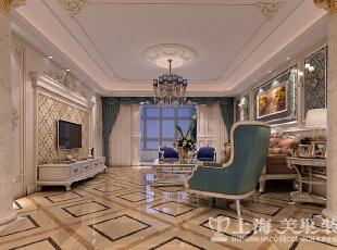 正商铂钻复式法式奢华装修案例-客厅侧面效果图,300平,35万,小资,复式,客厅白色,