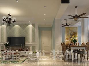 贰号城邦89平三室两厅现代简约案例——客餐厅装修效果图,89平,6万,现代,三居,客厅,餐厅,浅蓝色,黄白,