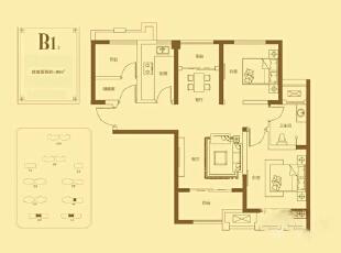 贰号城邦89平三室两厅现代简约装修户型图,89平,6万,现代,三居,