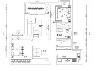 怡丰森林湖89平两室两厅现代简约装修案例户型方案平面图,89平,8万,现代,两居,
