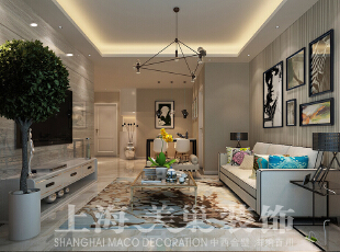 怡丰森林湖89平两室两厅现代简约装修案例效果图,沙发背景上用了时尚的条文机理壁纸,同时又加上一组个性化的艺术挂画,虽作为点缀,但又和壁纸相互呼应。,89平,8万,现代,两居,客厅,粉色,白色,