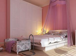 ,102平,12万,田园,两居,卧室,粉红色,