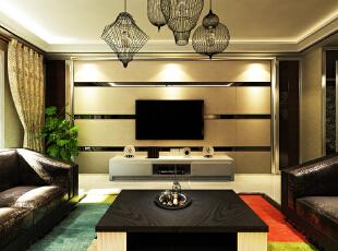 客厅做了一个隐形门,材质硬包和镜条。,157平,15万,现代,三居,客厅,黑白,