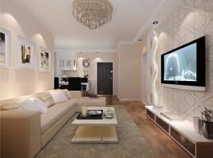 ,87平,6万,现代,两居,客厅,白色,原木色,粉色,黄色,简约,