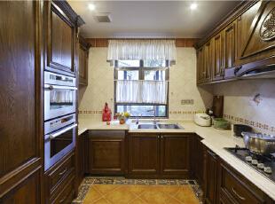 厨房—迪梵宜设计,357平,200万,美式,别墅,厨房,原木色,