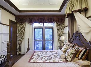 主卧—迪梵宜设计,357平,200万,美式,别墅,卧室,原木色,