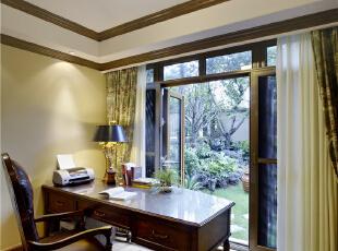 书房—迪梵宜设计,357平,200万,美式,别墅,书房,原木色,