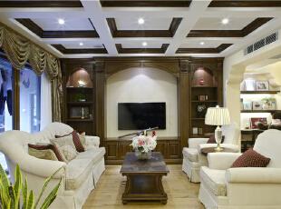 家庭厅—迪梵宜设计,357平,200万,美式,别墅,客厅,原木色,白色,