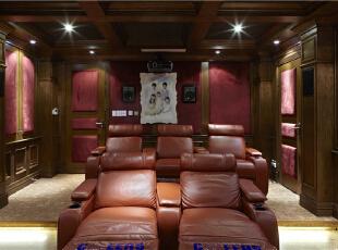 影视厅—迪梵宜设计,357平,200万,美式,别墅,影音室,红色,