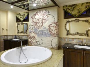 卫生间—迪梵宜设计,357平,200万,美式,别墅,卫生间,黄色,