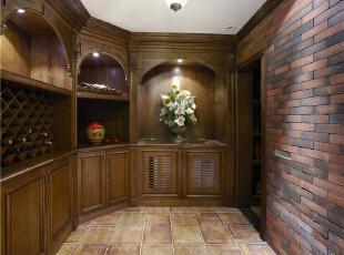 红酒室—迪梵宜设计,357平,200万,美式,别墅,原木色,