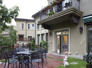 户外花园—迪梵宜设计,357平,200万,美式,别墅,阳台,原木色,
