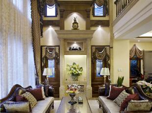 客厅—迪梵宜设计,357平,200万,美式,别墅,客厅,原木色,白色,