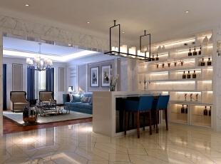 ,500平,60万,现代,别墅,客厅,蓝色,白色,