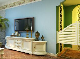 ,228平,35万,地中海,四居,客厅,绿色,白色,蓝色,