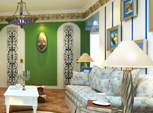 ,228平,35万,地中海,四居,客厅,绿色,白色,