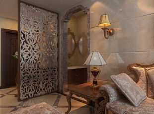 把角的位置和客厅紧紧相连过重的装饰显得喧宾夺主,金属线框和欧式卷草纹壁纸与客厅背景墙相呼应。,87平,6万,欧式,两居,客厅,原木色,白色,
