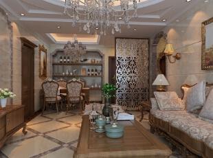 用两个颜色的瓷砖交叉铺贴,能使空间感跟强,丰富,再有顶上镂空雕花,给人一种尊贵的感觉,87平,6万,欧式,两居,客厅,原木色,白色,