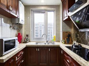 ,89.0平,8.0万,新古典,三居,厨房,原木色,白色,