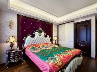 ,89.0平,8.0万,新古典,三居,卧室,红色,白色,