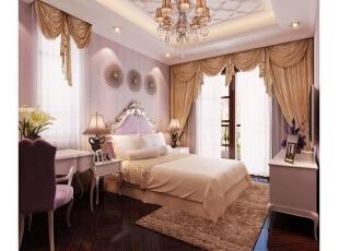 ,416平,5万,新古典,别墅,卧室,粉色,