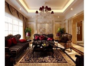 ,416平,5万,新古典,别墅,客厅,黄色,