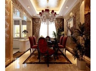 ,416平,5万,新古典,别墅,餐厅,黄色,