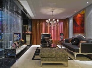 北京别墅装修设计—客厅 客厅主要是会客的地方 设计以简单 由黑皮质的沙发与布艺小墩所搭配 整体以浅色系为主 用水晶作为电视背景墙的隔断 现代温馨感,165平,28万,现代,四居,客厅,红色,黑白,蓝色,