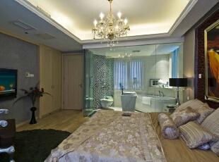 北京别墅装修设计—卧室 卧室,是家庭居室的重要组成部分。深色的地毯,温馨的暖色灯光 ,整个风格豪华、富丽,充满强烈的动感效果。 床头挂上抽象的油画 浅木色的地板 空间温馨 舒适,165平,28万,现代,四居,卧室,黑白,黄色,红色,蓝色,