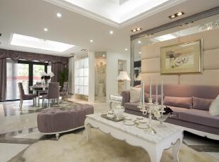 ,简约,四居,臻园,客厅,欧式,客厅,粉色,白色,