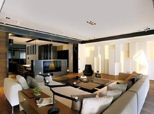 ,现代,大户型,西山艺境,客厅,简约,黑白,