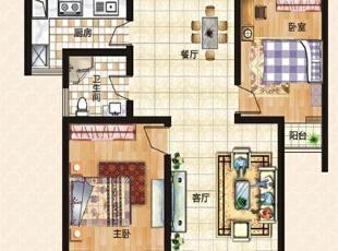 上东城89平方两室两厅新中式装修效果图 户型图,89平,6万,中式,两居,客厅,