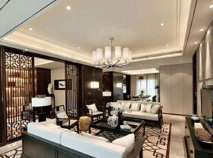 上东城89平方两室两厅新中式装修效果图 客厅,89平,6万,中式,两居,客厅,黑白,