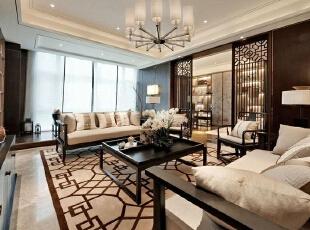 上东城89平方两室两厅新中式装修效果图 客厅,89平,6万,中式,两居,客厅,客厅,黑白,