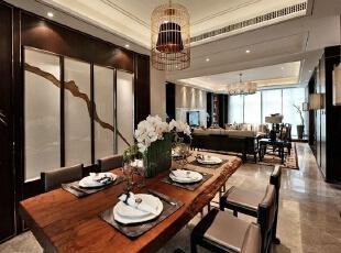 上东城89平方两室两厅新中式装修效果图 餐厅,89平,6万,中式,两居,餐厅,原木色,黑白,