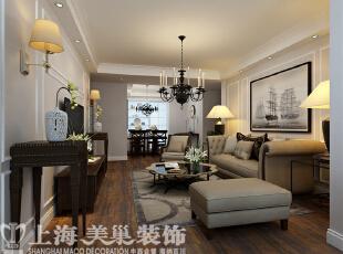农大家属院140平三室两厅美式装修案例——客厅装修效果图,140平,6万,美式,三居,客厅,粉色,白色,