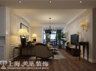 郑州农大家属院140平三室两厅美式装修方案——电视背景墙装修效果图,140平,6万,美式,三居,客厅,粉色,白色,