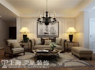 农大家属院140平三室两厅美式装修效果图——沙发背景墙装修效果图,140平,6万,美式,三居,客厅,粉色,白色,