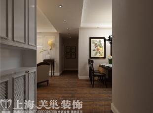 农大家属院140平三室两厅美式装修案例——廊厅装修效果图,140平,6万,美式,三居,餐厅,黑白,