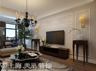 农大家属院140平三室两厅美式装修效果图——客厅1装修效果图,140平,6万,美式,三居,客厅,粉色,白色,