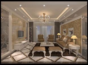 ,135平,12万,欧式,三居,客厅,黄色,白色,
