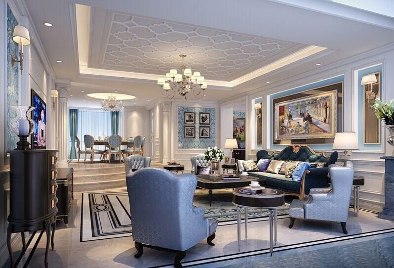 项目名称:熙龙湾别墅 风格:简欧式风格 材质:大理石,银镜