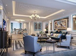 ,540平,80万,欧式,别墅,客厅,蓝色,